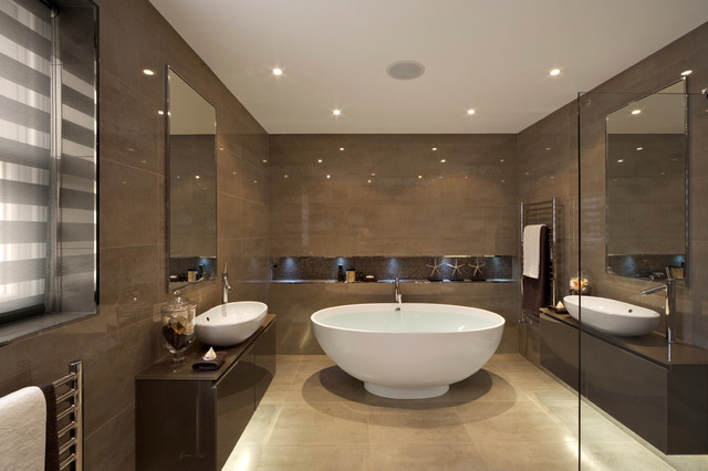 Interior Dark Brown Bathroom brown bathroom houzz large trendy master ceramic tile and floor beige photo in