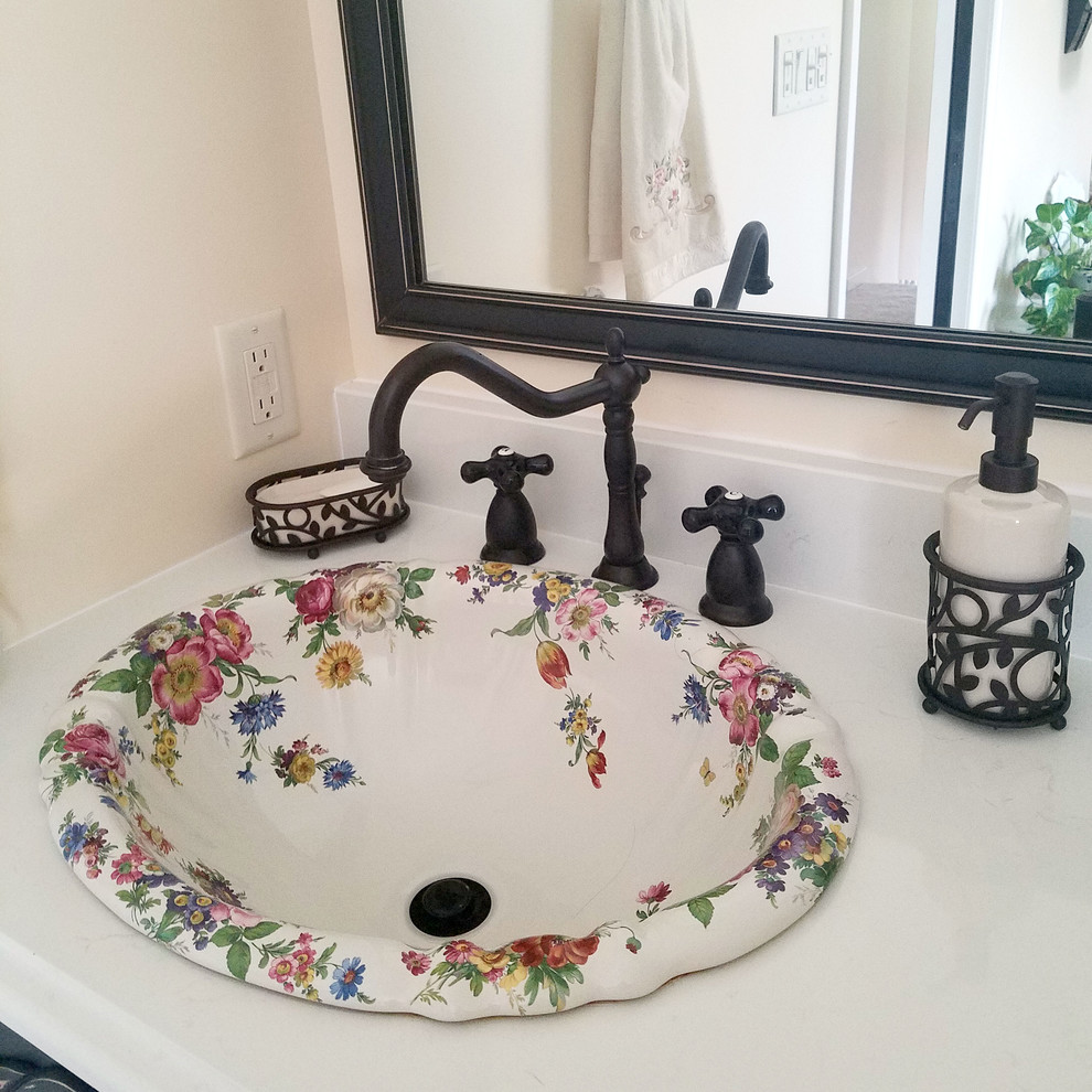 Bathrooms - Hand Painted Floral Sinks - Traditional ...