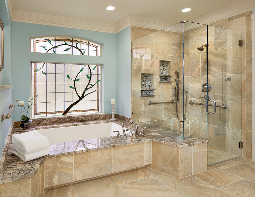 Inspiration for a timeless porcelain tile and beige tile walk-in shower remodel in Dallas with granite countertops and an undermount tub