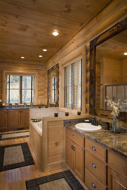 Bathrooms In Rustic Round Log Home Eclectic Bathroom