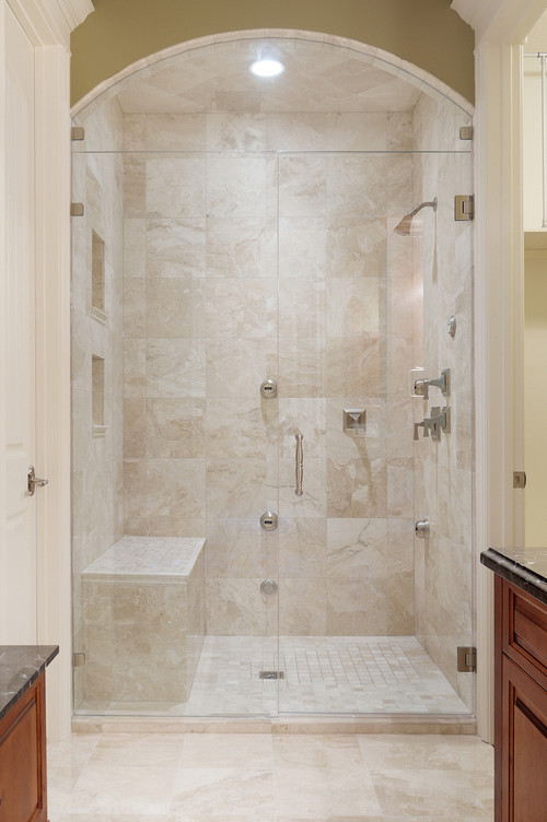 What are the dimensions of the shower and the shower bench?