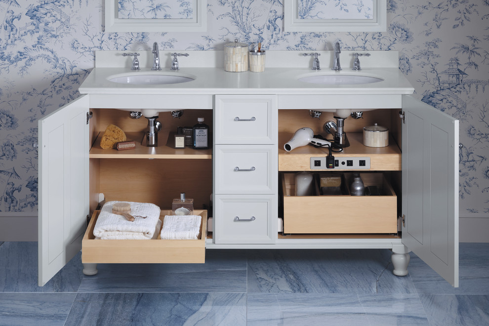 Elegant master blue tile and stone tile marble floor bathroom photo in Milwaukee with an undermount sink, white cabinets, multicolored walls and recessed-panel cabinets