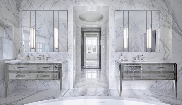 Trendy master white tile and marble tile marble floor and white floor bathroom photo in London with furniture-like cabinets, white walls and an undermount sink