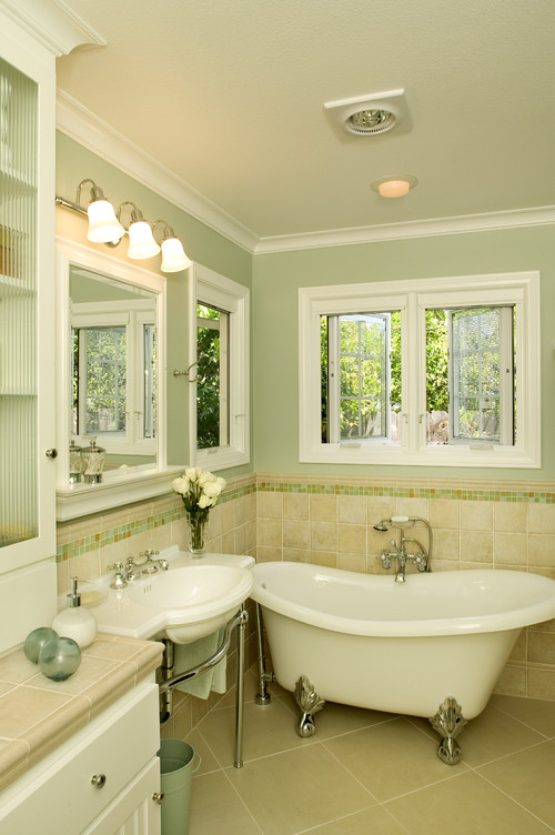 Would light green paint be too cold for master bath for Green bathroom paint colors