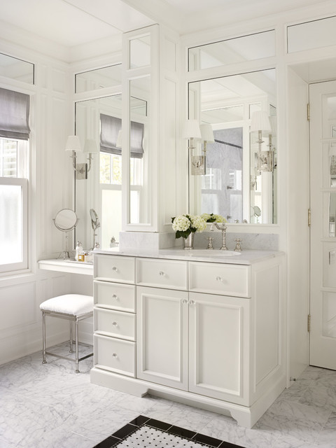 Luxury  Double Vanity With Makeup Area  White  Bathroom Vanities  Bathroom
