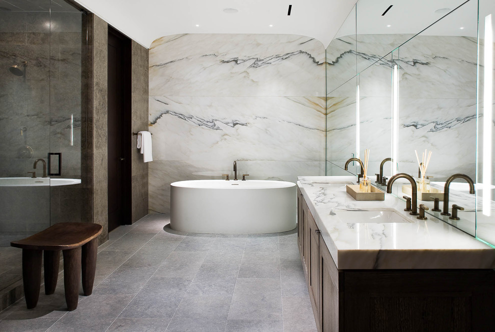 Inspiration for a contemporary marble tile alcove shower remodel in Dallas with marble countertops
