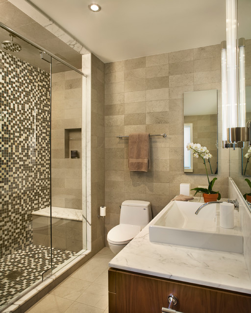 Bathrooms  Contemporary  Bathroom  Philadelphia  by ReStructure DesignB -> Banheiro Decorado Com Gabinete De Vidro