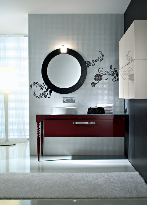 Contemporary Bathroom with Tile