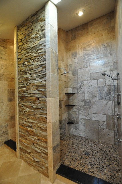 Bathrooms spas and stone tile showers traditional for Granite and tile bathroom ideas