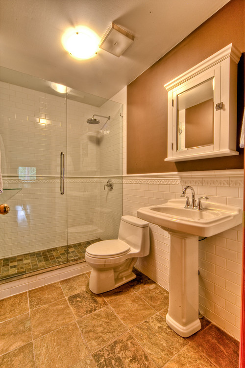 How Does The Shower Door Work With The Chair Rail Tile