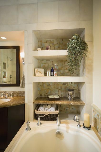 Bathtub alcove for Bathroom alcove shelves