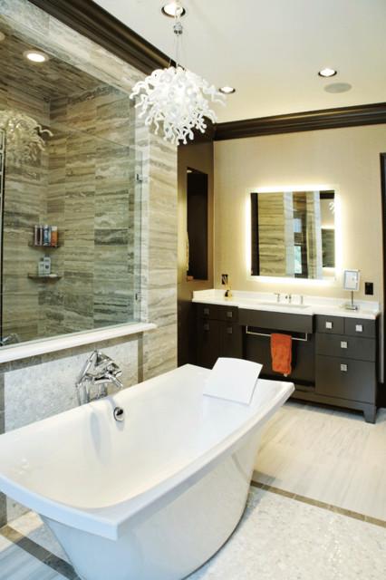 Bathtub backing to Shower Wall modern-bathroom