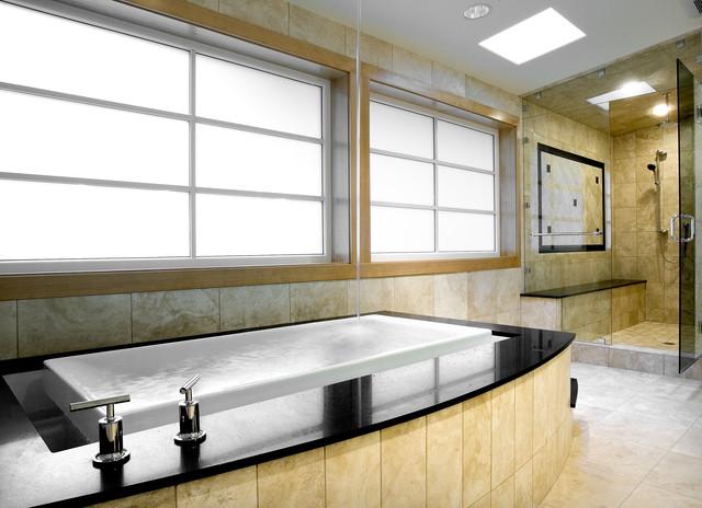 Bathtub (bath fills from ceiling) Master Bathroom contemporary-bathroom