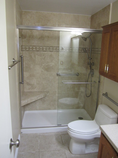 Bathtub To Shower Conversion Elderly Friendly Traditional Bathroom Orange County By