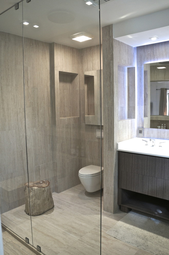 Large minimalist master beige tile and ceramic tile ceramic tile doorless shower photo in Miami with an undermount sink, open cabinets, medium tone wood cabinets, quartzite countertops, a wall-mount toilet and beige walls