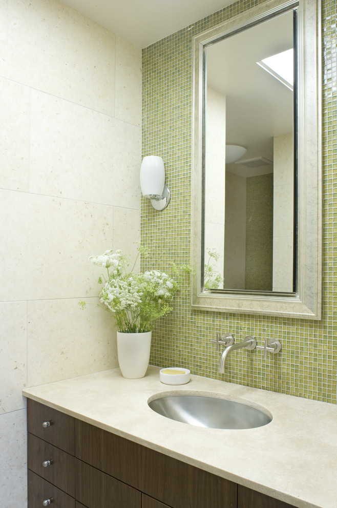 Bathroom - contemporary mosaic tile bathroom idea in San Francisco with an undermount sink and green walls