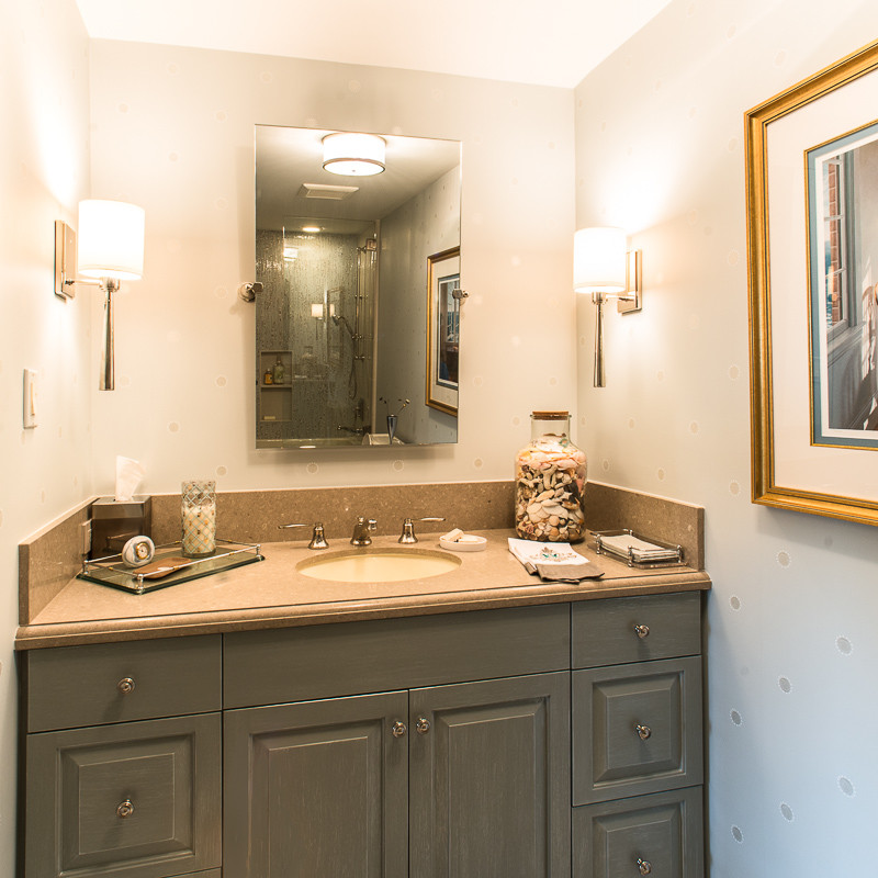 Inspiration for a mid-sized transitional 3/4 blue tile and porcelain tile bathroom remodel in Houston with raised-panel cabinets, gray cabinets, blue walls, an undermount sink, terrazzo countertops and a hinged shower door