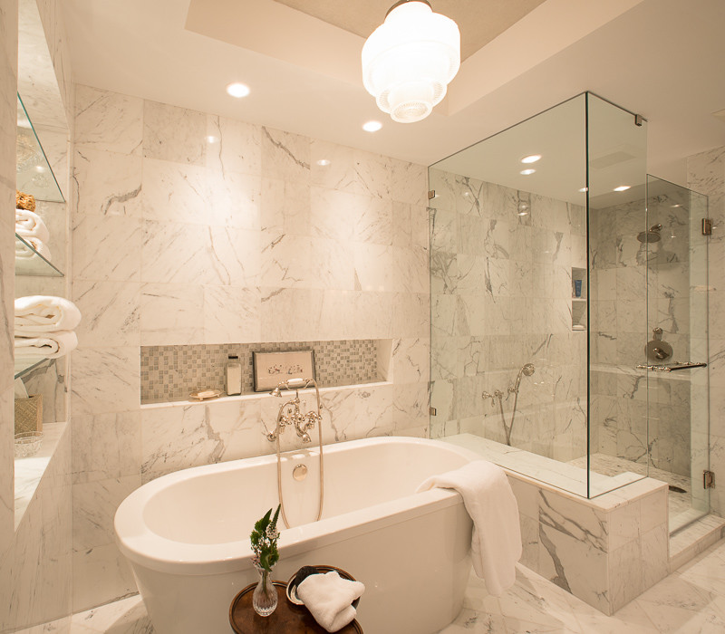Bathroom - large transitional master white tile and marble tile marble floor and gray floor bathroom idea in Houston with gray walls and a hinged shower door