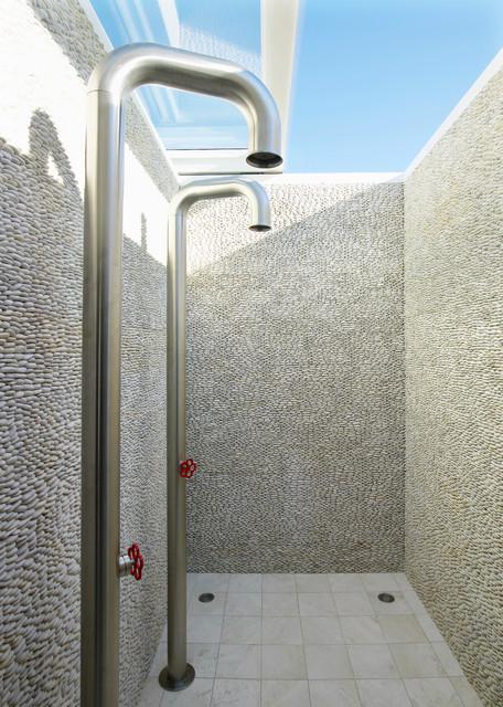 Beach House On Long Island Beach Style Bathroom New York By West Chin Architects