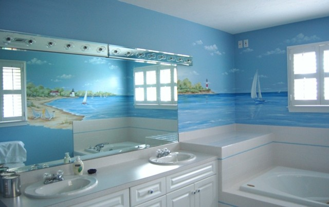 Beach Murals Beach Style Bathroom Boston By