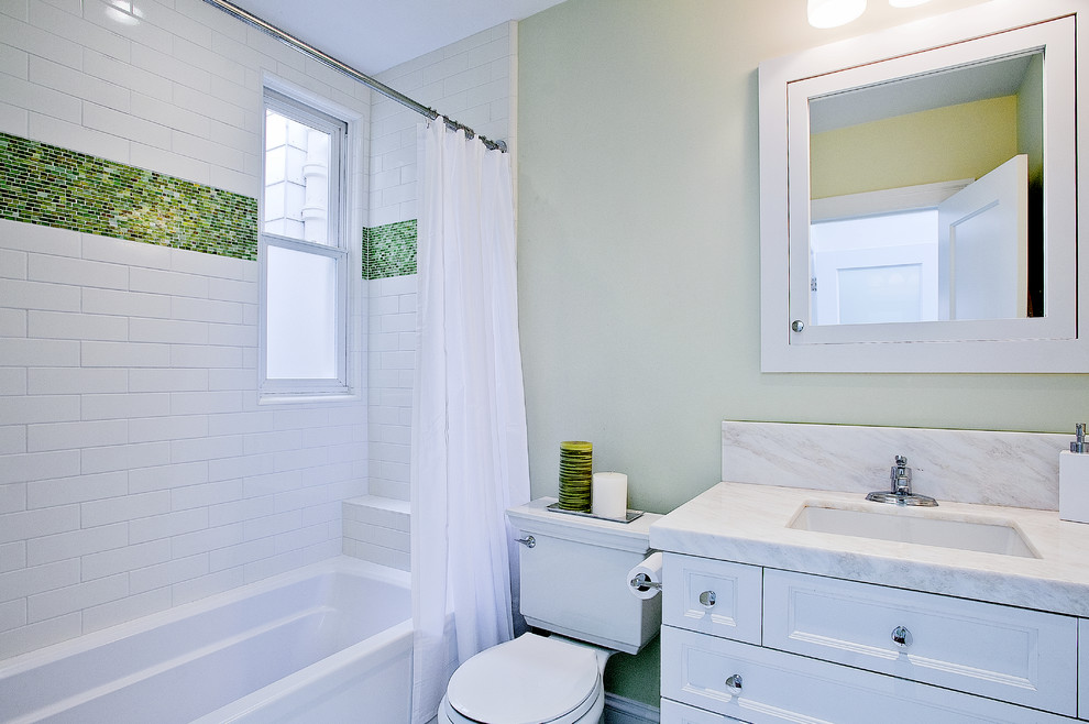 Beach style shower curtain photo in San Francisco with marble countertops