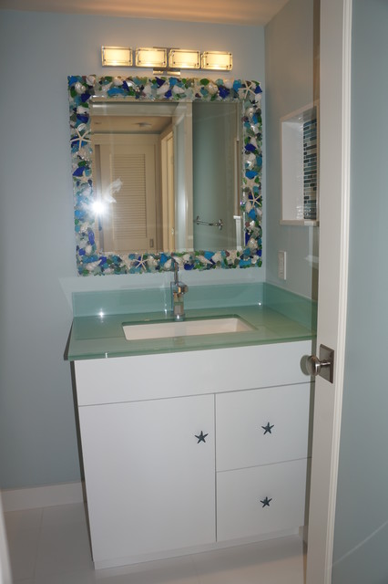 Beach Theme Vanity Contemporary Bathroom Miami By