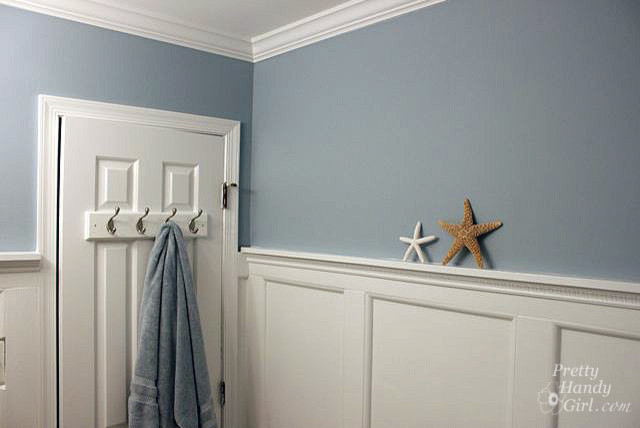Beach themed Bathroom with Board & Batten Moulding traditional-bathroom