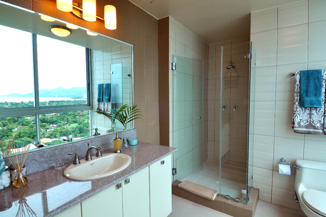 Beachfront Condo Design tropical bathroom