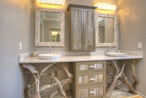 tropical bathroom Decorating with Driftwood