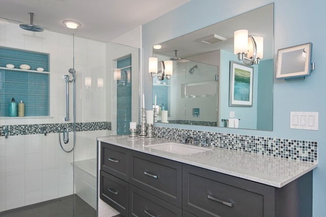 Beachy Blue Master Bath Addition Contemporary Bathroom