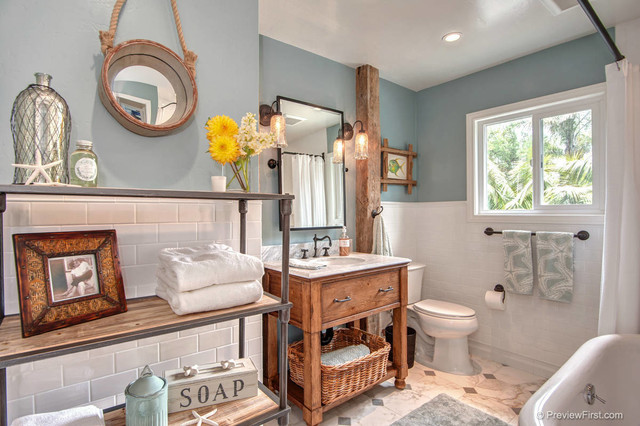 Beachy Casual Bathroom Beach Style Bathroom San Diego By