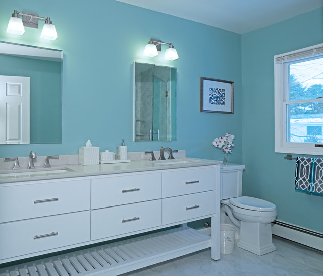 Beachy Contemporary Master - Transitional - Bathroom - New York - by Best Plumbing Tile & Stone