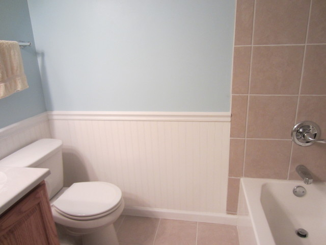 Beadboard wainscoting modern bathroom other metro for Wainscoting bathroom