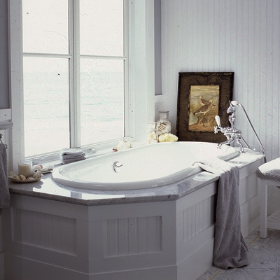 beadboard, white, carrara marble, drop-in tub, bathroom, white, spa like traditional bathroom