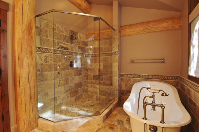 Bear creek cabin rustic bathroom denver by for Cabin shower tile ideas