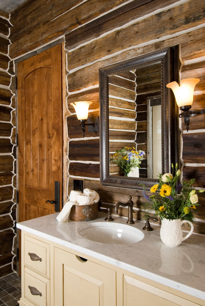 Bathroom - rustic bathroom idea in Other with marble countertops