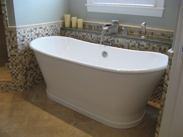 freestanding tub with deck mount faucet. Bathroom  traditional mosaic tile bathroom idea in Birmingham Tub Faucet Houzz