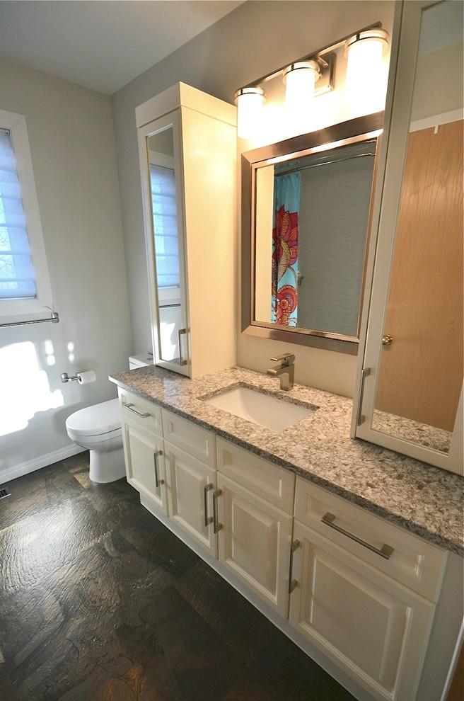 Modelo de cuarto de baño tradicional renovado, de tamaño medio, con lavabo bajoencimera, armarios con paneles con relieve, puertas de armario blancas, encimera de cuarzo compacto, sanitario de dos piezas y paredes grises