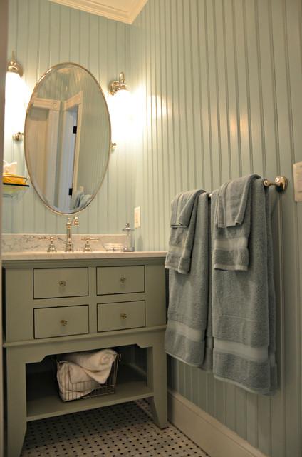 Beautiful Blue Beadboard Bathroom Beach Style Bathroom