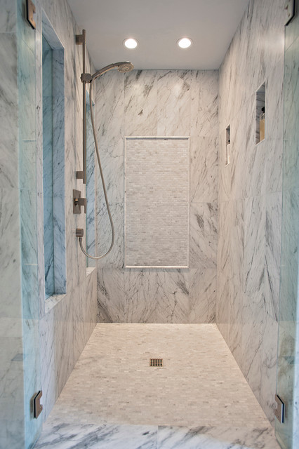 Beautiful Carrera Master Bath Contemporary Bathroom