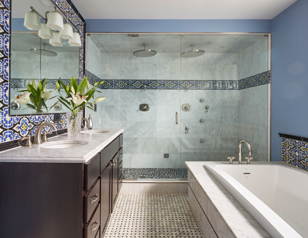 Transitional multicolored tile mosaic tile floor and multicolored floor bathroom photo in Chicago with shaker cabinets, dark wood cabinets, blue walls, an undermount sink, a hinged shower door and gray countertops