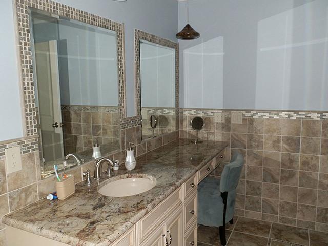 Beautiful Stonework Tile Bathroom Traditional