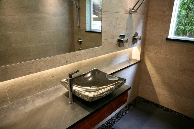 Floating Stone Sink : Beautiful Zen Bath - Floating Vanity with Granite Sink - Contemporary ...