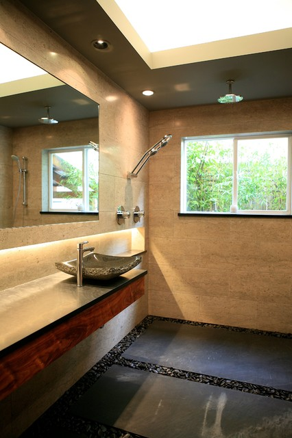 Open Shower Bathroom beautiful zen bath - open shower room concept - contemporary