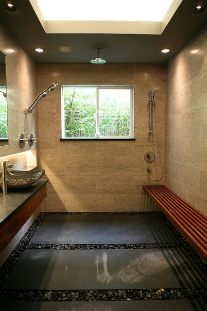 Beautiful Zen Bath Open Shower With Limestone Tile