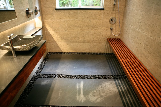 Beautiful Zen Bath   River Rock Floor With Floating Bench Contemporary  Bathroom