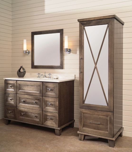 Beautifully Beveled Bathroom Bliss Furniture Vanity and Linen Cabinet - Transitional - Bathroom ...