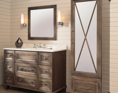 Beautifully Beveled Bathroom Bliss Furniture Vanity and Linen Cabinet transitional-bathroom