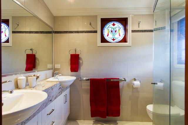 Beautifully restored queenslander traditional bathroom for Queenslander bathroom designs