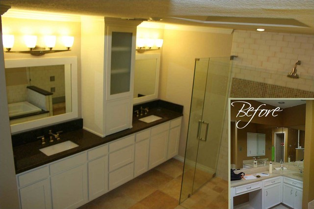 Before and after bathroom remodels traditional for Bathroom renovation before and after